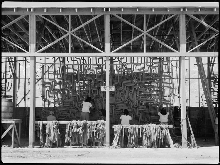 Manzanar Relocation Center, Manzanar, California. Making camouflage nets for the War Department. This is one of several War and Navy Department projects carried on by persons of Japanese ancestry in relocation centers.