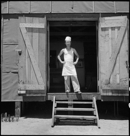 Manzanar Relocation Center, Manzanar, California. A chef of Japanese ancestry at this War Relocation Authority center. Evacuees find opportunities to follow their callings.