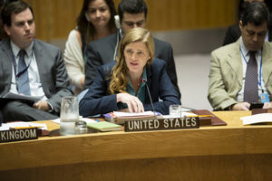 Samantha Power, Permanent Representative of the United States to the UN, addresses the Security Council meeting on Syria, Sept. 25, 2016. Power has been an advocate for escalating U.S. military involvement in Syria. (UN Photo)