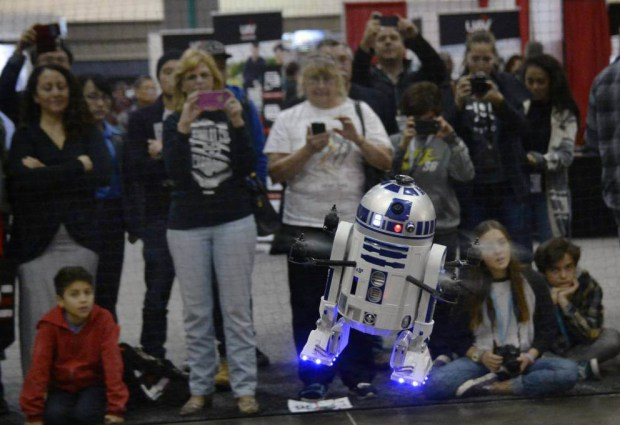 Image: World's first flying R2-D2 makes unexpected landing at International Drone Expo