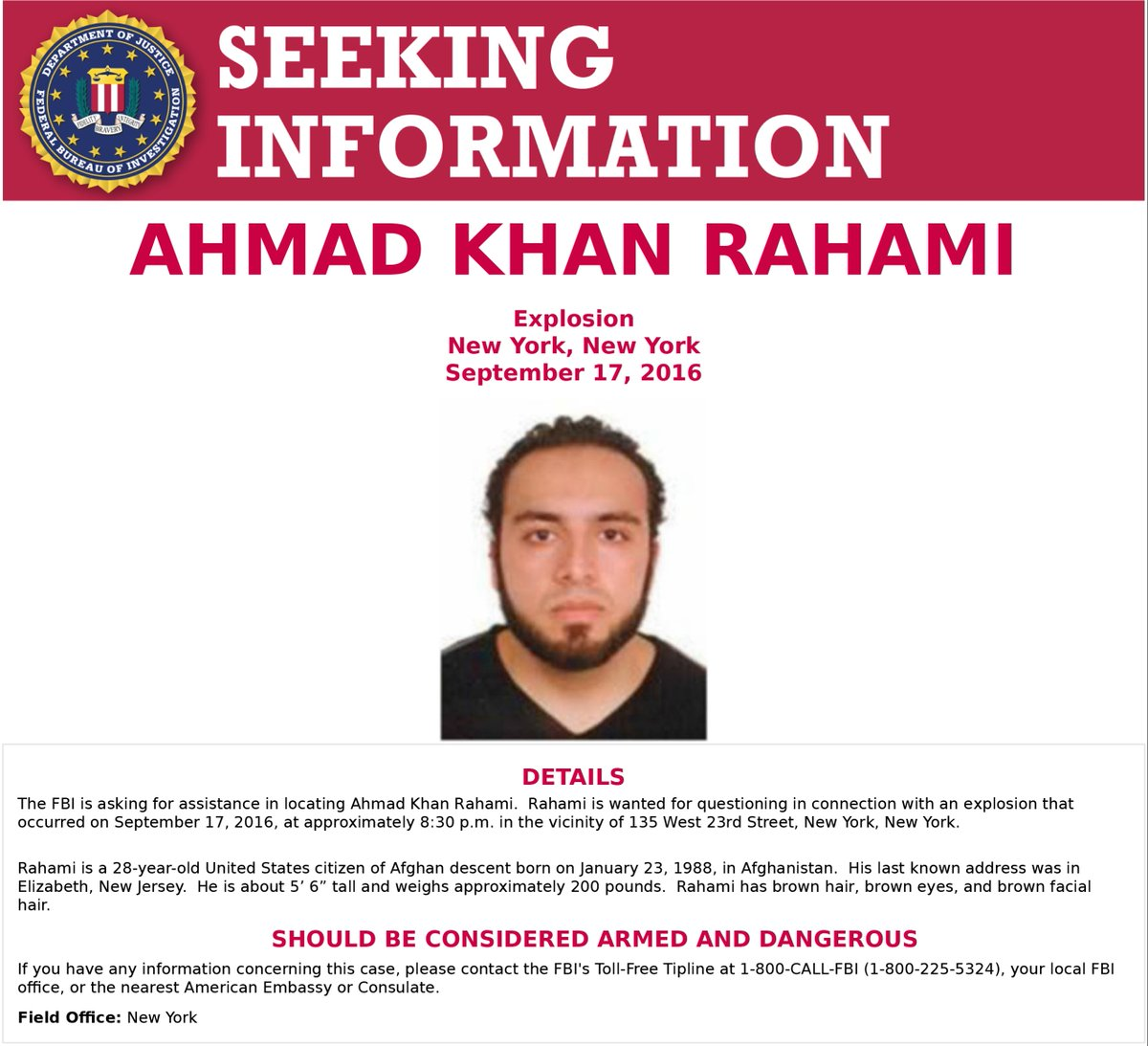 Image: Afghani bomber identified in the Manhattan and NJ attacks