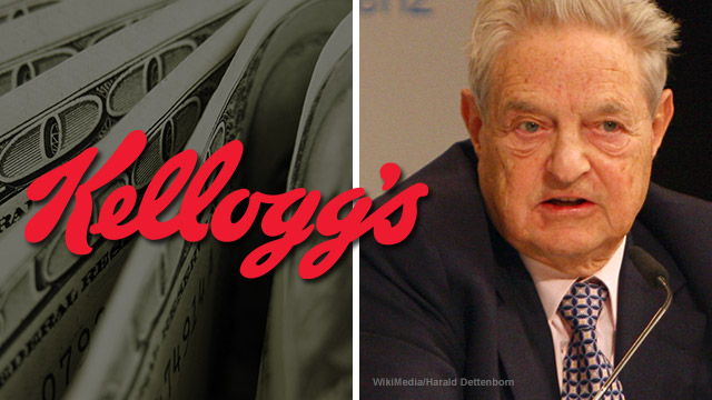Image: Kellogg's found to have financial ties to the money man for cop-killing left-wing HATE groups: George Soros