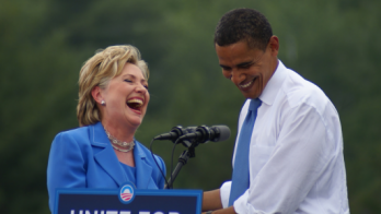 hillary and obama laughing