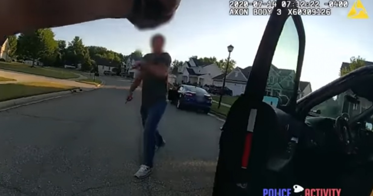 COUNT THE ROUNDS: Shocking footage shows man with knife charging police officer before being shot multiple times before being stopped