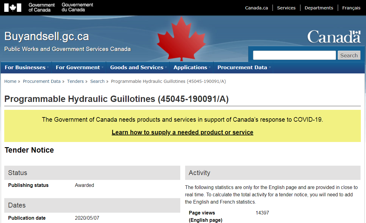 "Canadian government publishes bid request for ""Programmable Hydraulic Guillotines"" needed ""in support of Canada's response to COVID-19"""